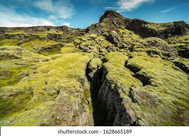 Laki Crater Iceland. Volcanic crater covered wit green moos. Volcanic Landscape. Volcano fissure eruption. Iceland landscape. Icelandic high land. Volcanic fissure with a green moss and lava field