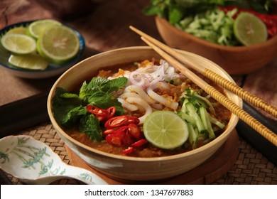 Laksa Medan. Peranakan fish noodle soup popular in Medan, North Sumatra. Also known as Asam Laksa in Penang, Malaysia.