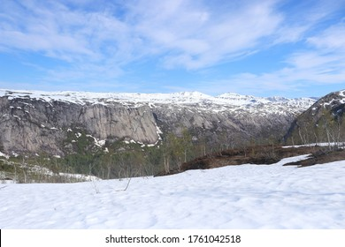 LAKSHOL, NORDLAND COUNTY / NORWAY - JUNE 12 2020:  Early summer view with snowy Norwegian mountains. Rago National Park in Northern Norway.