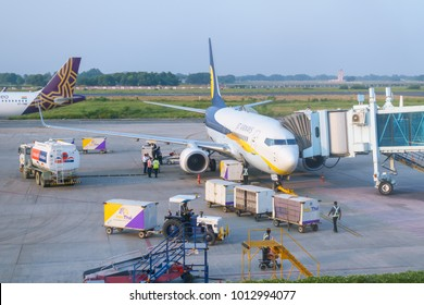 Lal Bahadur Shastri International Airport, Varanasi, India -  October 23, 2017: Jet Airways plane prepare for departure at gate.