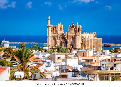 Lala Mustafa Pasha Mosque and Famagusta town. Famagusta, Cyprus.