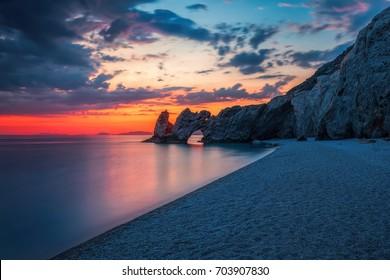 Lalaria in Skiathos at sunrise