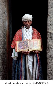 LALIBELA, ETHIOPIA - AUGUST 3: Priest Asheten Mariam, Lalibela's churches carved into the rock were declared World Heritage Site in 1978, August 3.2011 in Lalibela, Ethiopia.