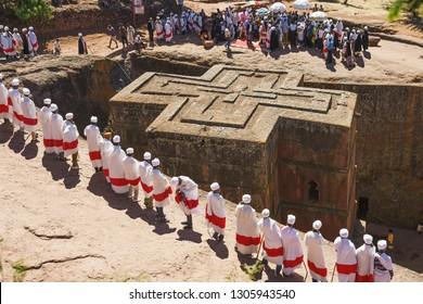 Lalibela, Ethiopia - January 11, 2019: Ceremony at the Church of St. George during the Irish Prime-Minister Leo Varadkar's visit to Lalibela in Ethiopia.