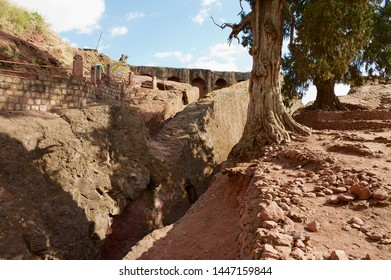 Lalibela, Ethiopia - January 27, 2010: Ruins of the monolithic rock-hewn church, UNESCO World heritage, in Lalibela, Ethiopia.