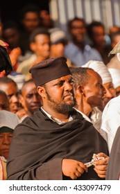 LALIBELA, ETHIOPIA - SEP 27, 2011:  Unidentified Ethiopian religious man during the Meskel festival in Ehtiopia, Sep 27, 2011. Meskel commemorates the finding of the True Cross