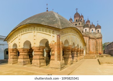 Lalji temple of Kalna, West Bengal, India - It is one of oldest temples of lord Krishna (a Hindu Gd) at Kalna with terracotta art works on the temple walls.