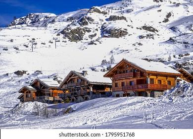 L'Alpe D'Huez ski resort in Alps mountains, France. Winter landscape. Famous travel destination. High quality photo