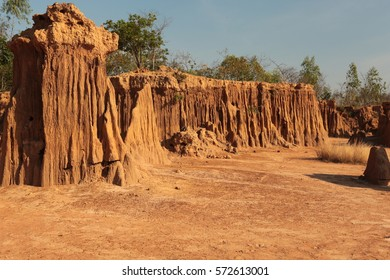 Lalu Park in Sakaeo province, Thailand,asia : Soil erosion, water is a trace.