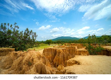 Lalu Thailand's Canyon in Sa Kaeo province - Unseen Thailand. A subsided land which is a result of a natural phenomenon cause by the erosion of rainwater and the subsidence or collapse of soil.