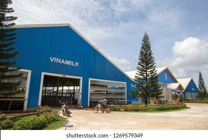 Lam Dong, Vietnam - Sep 8, 2018: Front view of a organic Vinamilk farm in Tay Nguyen highland. Vinamilk is a state owned milk giant in Vietnam market.