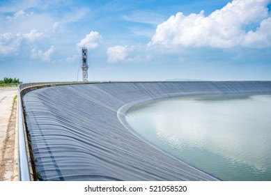 Lam Takong Reservoir view, water reservoir with black plastic liner, Nakhon Ratchasima, Thailand