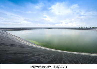 Lam Takong reservoir (water reservoir with plastic liner), Nakhon Ratchasima, Thailand