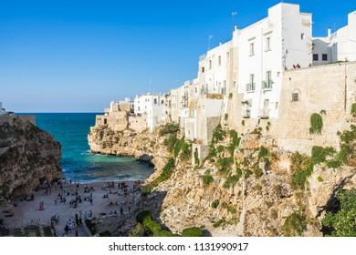 Lama Monachile beach is the most famous landmark of Polignano a Mare, Apulia, Italy