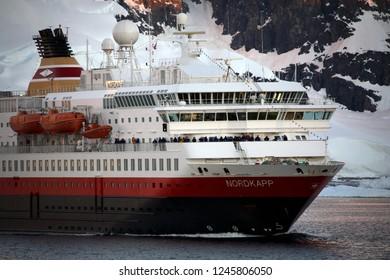 Lamaire Channel. Antarctica. 12.06.05. The large tourist ship 'Nordkapp' in the Lamaire Channel on the Antarctic peninsula in Antarctica.
