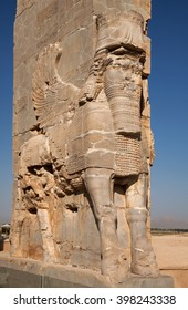 Lamassu, an Assyrian protective deity, often depicted as having a human's head, a body of an ox or a lion, and bird's wings; guarding the ancient Gate of All Nations in Persepolis of Shiraz.