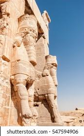 Lamassu statues an Assyrian guarding at gate of ancient city - Persepolis,Shiraz-Iran.