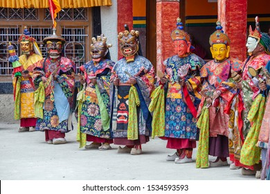 Lamayuru Gompa, Jammu and Kashmir, India - june13, 2015 : Monk with colored clothes and mask performs Cham dances, ritual dancing at Takthok festival, Ladakh, India