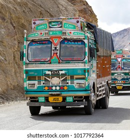 LAMAYURU, INDIA - JUNE 13, 2015 : Truck on the high altitude Srinagar - Leh road in Lamayuru valley, state of Ladakh, Indian Himalayas, North India