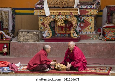 LAMAYURU, INDIA - JUNE 13, 2015: Unidentified buddhist monk during mystical mask dancing Tsam mystery dance in time of Yuru Kabgyat Buddhist festival at Lamayuru Gompa, Ladakh, North India