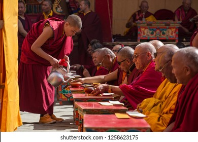 Lamayuru, India - June 21, 2017: Yuru Kabgyat Buddhist festival at Lamayuru Gompa, Ladakh. Lamayuru monastery festival is a Buddhist ceremony with tantric mask dancing performed by the lamas monks.