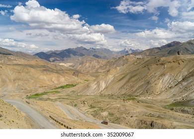 Lamayuru landscape and transportation, India