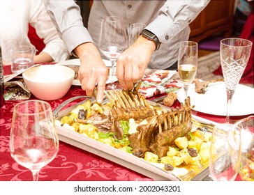 lamb baked in the oven with new potatoes, with frech herbs, delicious homemade food,