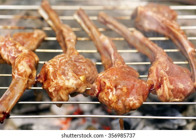 Lamb Chops On Grill, Selective Focus