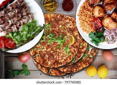 lamb on skewither, chicken shish and Lahmacun. Traditional Turkish food