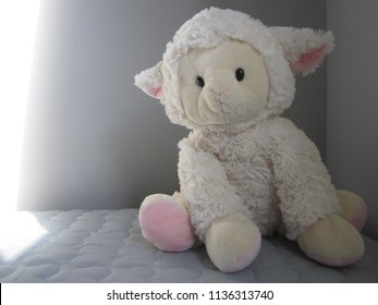 Lamb plush toy. White and pink lamb. Stuffed animal. Gray background