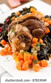 Lamb Shank Slow Cooked with Vegetables and Wine