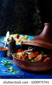 lamb squash and apricot tagine.style rustic. selective focus