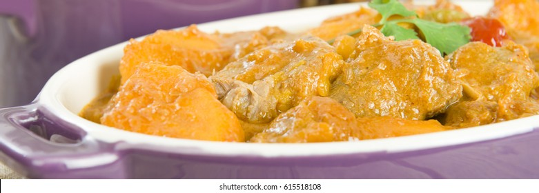 Lamb and sweet potato peanut stew. A Caribbean and West African dish.