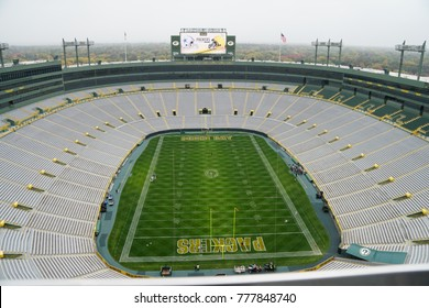 Lambeau Field in Green Bay, Wisconsin/USA on October 15, 2016.  The field is getting prepared with yard lines for Packers vs. Cowboys game the following day.