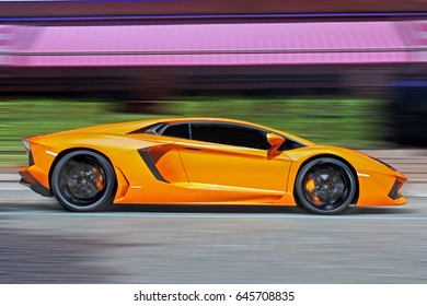 Lamborghini Aventador at high speed. Supercar in motion. August 14, 2011, Kiev - Ukraine.  Editorial photo.