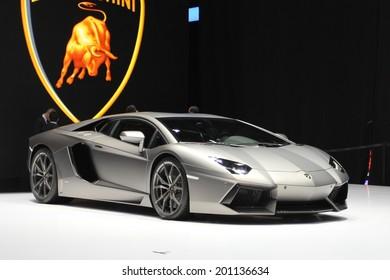 Lamborghini Aventador presented at the 84th International Geneva Motor Show on March 4, 2014 in Palexpo, Geneva, Switzerland