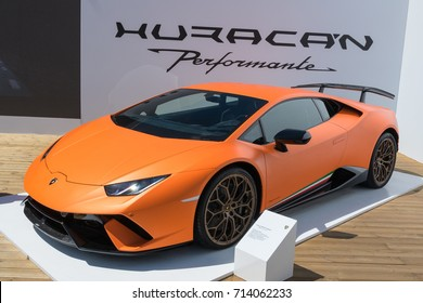Lamborghini Huracan Performante on display at the Goodwood Festival of Speed at Goodwood House, Chichester, West Sussex, England, PO18 0PX on Sunday July 2nd, 2017