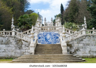 LAMEGO, PORTUGAL - CIRCA APRIL 2017: The monumental staircase to the Sanctuary of Nossa Senhora dos Remedios in Lamego