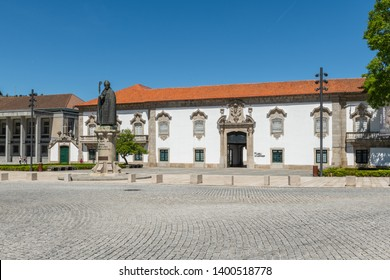 LAMEGO, PORTUGAL - CIRCA MAY 2019: Statue in front of the Lamego Museum in Portugal.