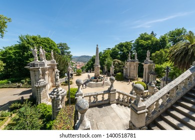 LAMEGO, PORTUGAL - CIRCA MAY 2019: Fountain near Sanctuary of Our Lady of Remedios in Lamego - Portugal.