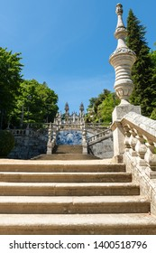 LAMEGO, PORTUGAL - CIRCA MAY 2019: Stairway to the Sanctuary of Our Lady of Remedios in Lamego - Portugal.