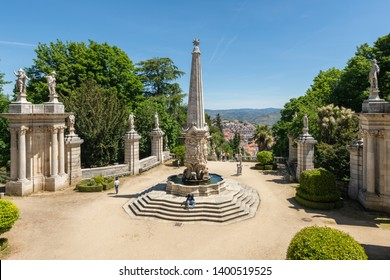 LAMEGO, PORTUGAL - CIRCA MAY 2019: Beautiful Shrine of Our Lady of Remedies in Lamego, Portugal. The sight is a major pilgrimage church in the country.