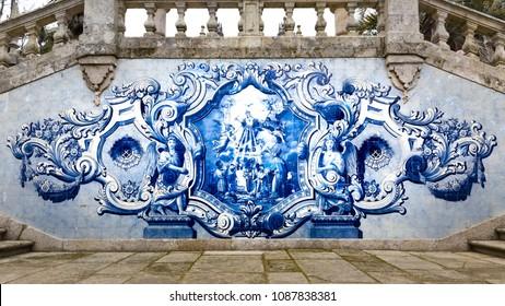 LAMEGO, PORTUGAL - FEBRUARY 26, 2017: Azulejos, tile painting, pilgrimage church Nossa Senhora dos Remedios, Lamego, Tras-Os-Montes, Portugal