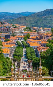 LAMEGO, PORTUGAL, MAY 26, 2019: Lamego viewed from staircase leading to the church of our lady, Portugal