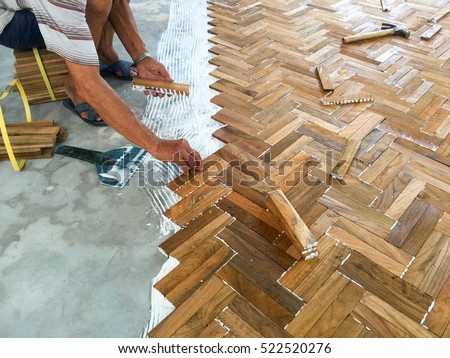 Laminate Parquet Floor Installation By White Stock Photo Edit Now
