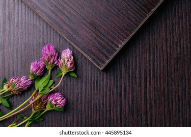 """Laminated particleboard (chipboard) is used in the furniture industry. Chipboard, which applied decorative coating """"laminate"""". Flat lay"""
