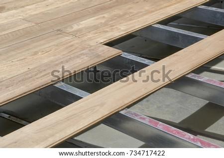 Laminated Wooden Floor Installation Set On Stock Photo Edit Now