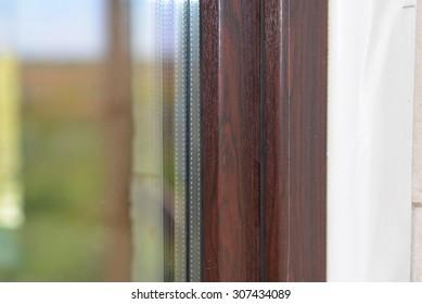 Lamination of window glass film package wood dark brown
