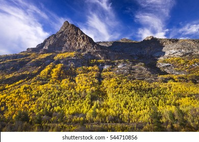 Lamoille Canyon is the largest valley in the Ruby Mountains, located in the central portion of Elko County in the northeastern section of the state of Nevada.  Trees are in fall colors.