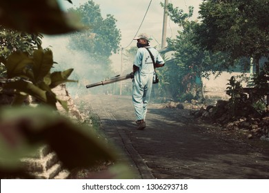 LAMONGAN, INDONESIA - FEBRUARY 5, 2019: The Selorejo village government in Lamongan Regency conducted fumigation to kill mosquitoes as a prevention of dengue fever outbreaks.